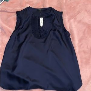 women's navy silk jcrew top